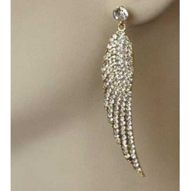 Boucles d'oreilles strass ailes , 8222 Or