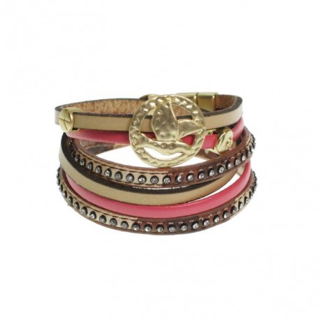 Bracelet double tours de strass Rouge-Beige
